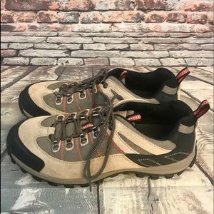 Lands End Beige , Tan & Black Lace Up Hiking Boots